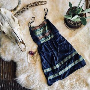 Boho Navy Blue Sun Dress